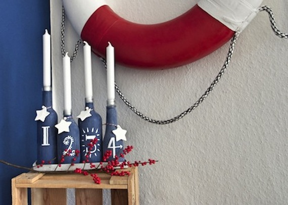 Adventskranz Upcycling Flaschen, Tafellack DIY, hamburgvoninnen.de