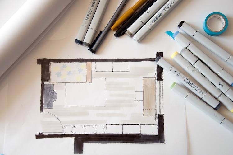 Arbeitszimmer Planung mit Farbkonzept und Moodboard - Hamburg von innen