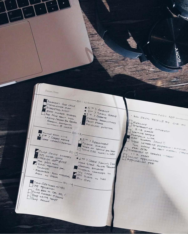 Tagesübersicht. Minimalistisches Bullet Journal, hamburg von innen