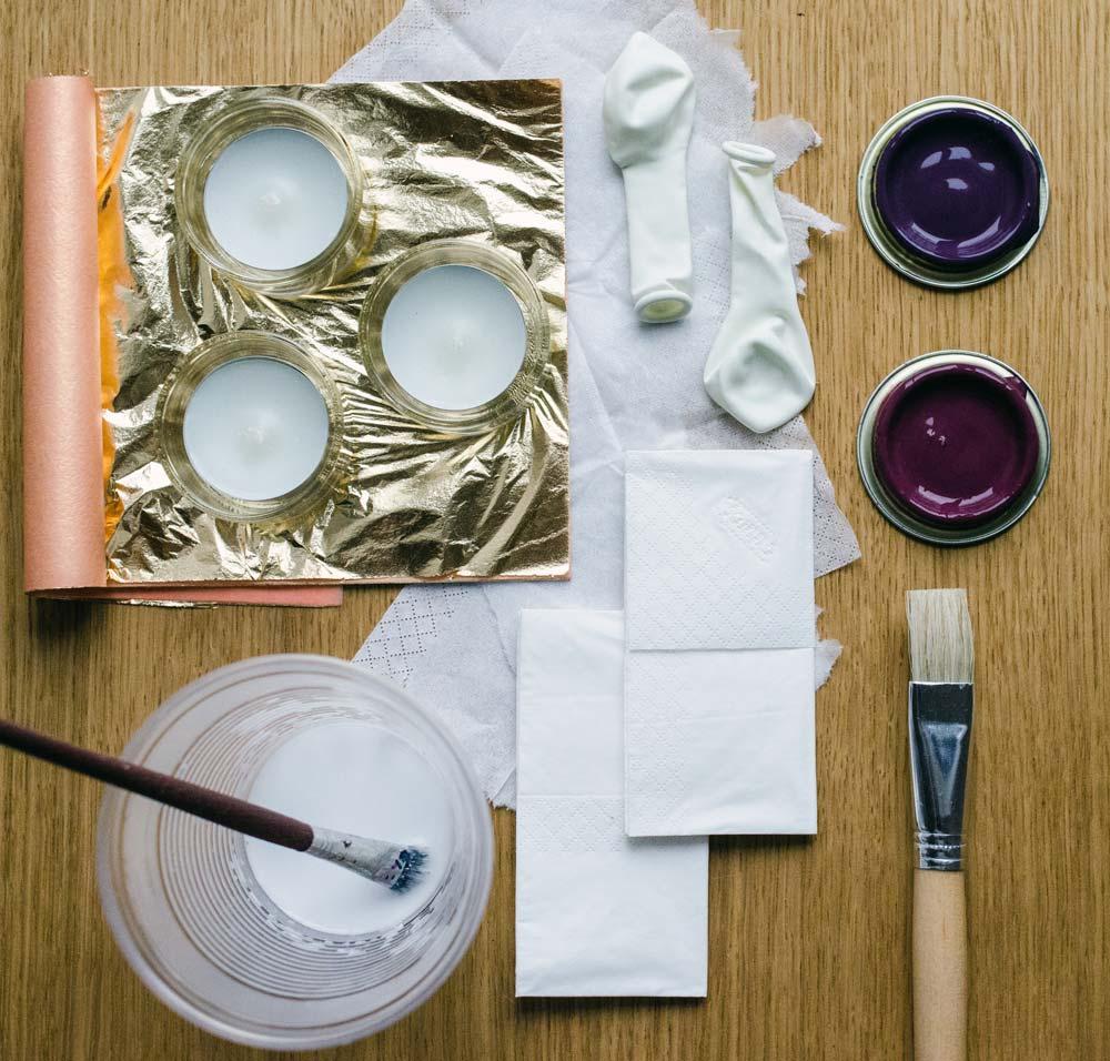 DIY Teelichthalter aus Papiermaché mit Tempo Taschentüchern. Materialien. #TempoKreativwerkstatt