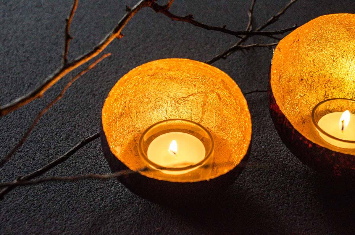Valentinstag - Teelichthalter DIY - Papiermaché und Blattgold - #TempoKreativwerkstatt - hamburg von innen