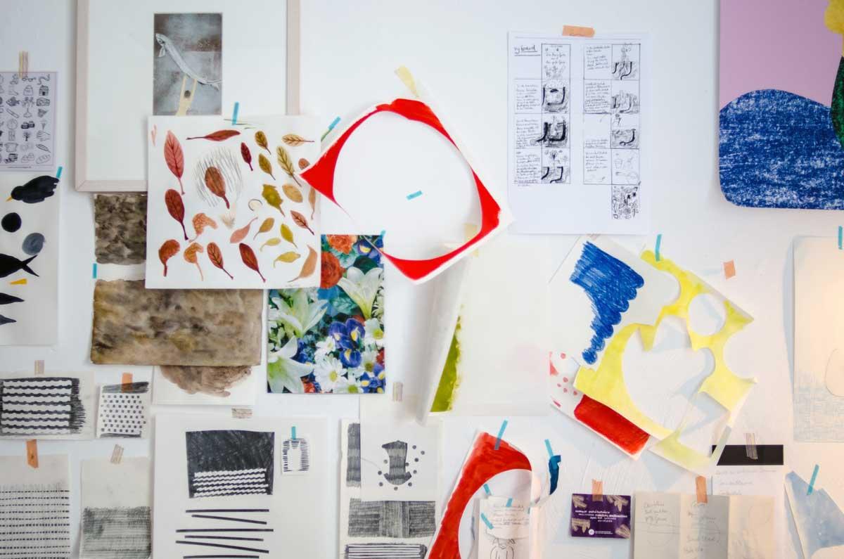 Inspo-Wand, Atelier von Diana Laube, Illustratorin. hamburgvoninnen.de