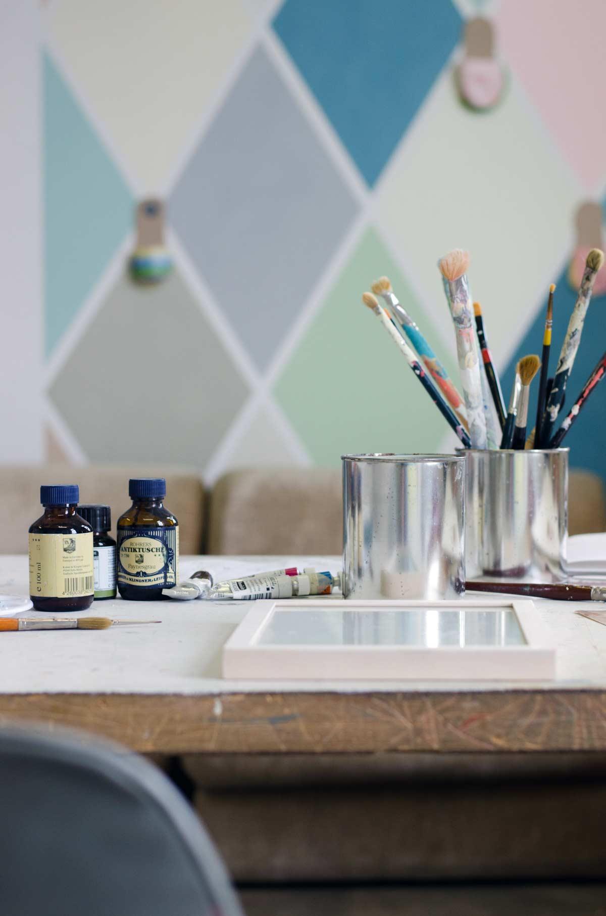 Künstleratelier, Charlotte Crome, wandfirma. hamburgvoninnen.de Wandgestaltung mit Farbe